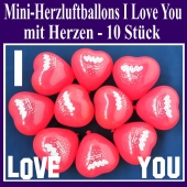 Mini Herzluftballons I Love you, 10 Stück, Ich Liebe Dich Herzballons mit Herzen