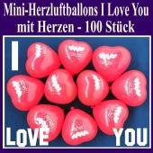Mini Herzluftballons I Love you, 100 Stück, Ich Liebe Dich Herzballons mit Herzen