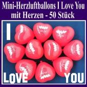 Mini Herzluftballons I Love you, 50 Stück, Ich Liebe Dich Herzballons mit Herzen