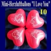 Mini Herzluftballons I Love you, 10 Stück