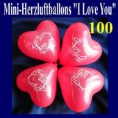 Mini Herzluftballons I Love you, 100 Stück