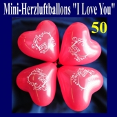 Mini Herzluftballons I Love you, 50 Stück
