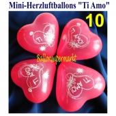 Mini Herzluftballons Ti Amo, 10 Stück