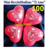 Mini Herzluftballons Ti Amo, 100 Stück