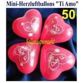 Mini Herzluftballons Ti Amo, 50 Stück