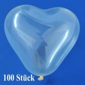 Herzluftballons Mini, 8-12 cm, transparent, 100 Stück