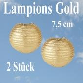 Lampions Gold, 7,5 cm, 2 Stück Set