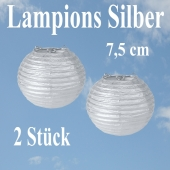 Lampions Silber, 7,5 cm, 2 Stück Set