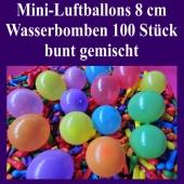 "Mini Luftballons, 8 cm, 3"", Wasserbomben, 100 Stück, bunt sortiert"