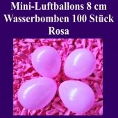 """Mini Luftballons, 8 cm, 3"""", Wasserbomben, 100 Stück, Rosa"""
