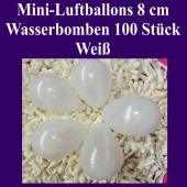 """Mini Luftballons, 8 cm, 3"""", Wasserbomben, 100 Stück, Weiß"""