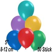 Luftballons 12 cm, Bunt gemischt, 50 Stück