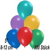 Luftballons 12 cm, Bunt gemischt, 500 Stück