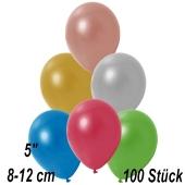 Kleine Metallic Luftballons, 8-12 cm, Bunt gemischt, 100 Stück