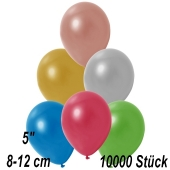 Kleine Metallic Luftballons, 8-12 cm, Bunt gemischt, 10000 Stück