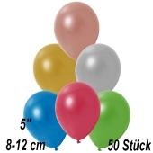 Kleine Metallic Luftballons, 8-12 cm, Bunt gemischt, 50 Stück