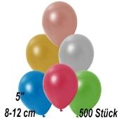 Kleine Metallic Luftballons, 8-12 cm,  Bunt gemischt, 500 Stück