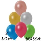 Kleine Metallic Luftballons, 8-12 cm, Bunt gemischt, 5000 Stück
