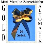 Mini-Metallic Zierschleifen Gold, 20 Stück, 14 mm, Automatik-Ziehschleifen