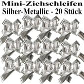 Mini-Metallic Zierschleifen Silber, 20 Stück, 14 mm, Automatik-Ziehschleifen