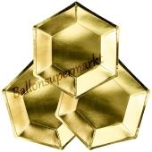 Mini-Partyteller Sechseck Gold, 6 Stück