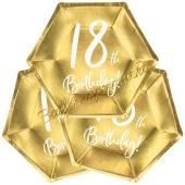 18th Birthday Gold Partyteller zum 18. Geburtstag, 6 Stück