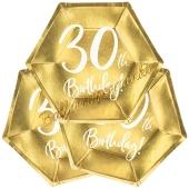 30th Birthday Gold Partyteller zum 30. Geburtstag, 6 Stück