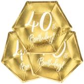40th Birthday Gold Partyteller zum 40. Geburtstag, 6 Stück
