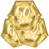 50th Birthday Gold Partyteller zum 50. Geburtstag, 6 Stück