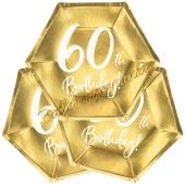 60th Birthday Gold Partyteller zum 60. Geburtstag, 6 Stück