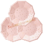 Mini-Partyteller Rosa mit Sternen, 6 Stück