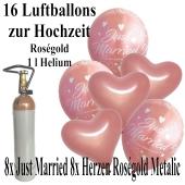Mini-Set zur Hochzeit mit 15 roségoldenen runden und herzförmigen Luftballons, Heliumflasche und Bändern