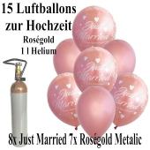 Mini-Set zur Hochzeit mit 15 roségoldenen Luftballons, Heliumflasche und  Bändern