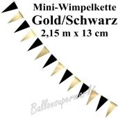 Mini-Wimpelkette, gold/schwarz, 2,15 m