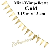 Mini-Wimpelkette, gold, 2,15 m