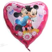 Minnie Mouse und Mickey Mouse in Love, großer Herzluftballon aus Folie mit Ballongas Helium