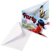 Einladungskarten Miraculous Ladybug zum Kindergeburtstag, 8 Stück