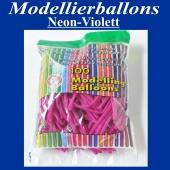 Modellierballons Neon-Violett, Luftballons zum Modellieren, 100 Stück