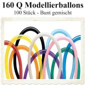 Modellierballons, 160 Q, Qualatex, 100 Stück, bunt gemischt
