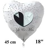 Mr & Mrs. Weißer Herzluftballon aus Folie, 45 cm, inklusive Helium