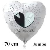 Mr & Mrs. Großer weißer Herzluftballon aus Folie, 70 cm, inklusive Helium