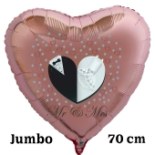 Mr & Mrs. Großer rosegoldener Herzluftballon aus Folie, 70 cm, inklusive Helium