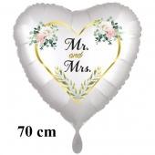 Mr. & Mrs. Golden Heart and Flowers, 70 cm Herzluftballon, satinweiss, ohne Helium zur Hochzeit