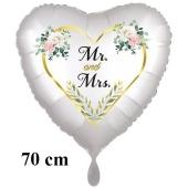 Großer Herzluftballon Mr. & Mrs. Golden Heart and Flowers, inklusive Helium