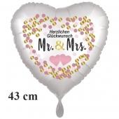 Mr. & Mrs. Herzlichen Glückwunsch, Herzluftballon, satinweiss, ohne Helium zur Hochzeit