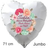Schön, dass es Dich gibt! Beste Mama der Welt! Großer Luftballon in Herzform aus Folie mit Helium zum Muttertag