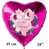 Mami ist die Beste! Luftballon in Herzform aus Folie, pinkfarben, mit Helium zum Muttertag