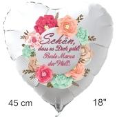 Schön, dass es Dich gibt! Beste Mama der Welt! Luftballon in Herzform aus Folie mit Helium zum Muttertag