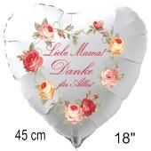Liebe Mama! Danke für Alles! Luftballon in Herzform aus Folie ohne Helium zum Muttertag