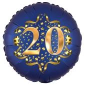 Satin Navy Blue Zahl 20 Luftballon aus Folie zum 20. Geburtstag, 45 cm, Satin Luxe, heliumgefüllt
